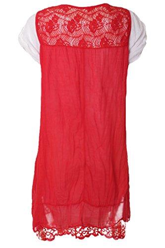Luxus Spitze Tunika Shirt Doppel Look inkl. Schal Rot