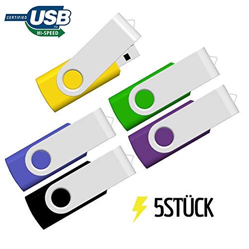 32GB USB Stick 5 Stück, Flash Speicherstick JBOS 32GB 5 Pack USB2.0 Rotate Metall Schnellen Geschwindigkeit USB Flash Drive, USB-Flash-Laufwerk, Mehrfarbig (Gelb, Grün,Blau,Violett, Schwarz)