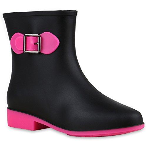Senhoras Botas De Borracha Botas De Tornozelo Botas De Néon Sapatos De Chuva Impermeável Rosa Neon Preto