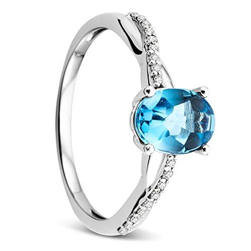 Orovi donna oro bianco anello di fidanzamento diamanti con swiss topazio azzurro anello solitario diamante ring 9carati (375) brillianten 0.07crt topas 1.42crt con 18diamanti, oro bianco, 52 (16.6), colore: gold, cod. or73388r52