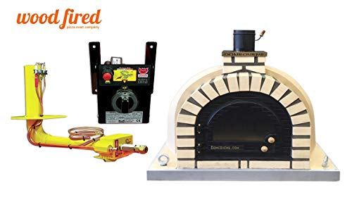 Sand Tudor Wood Fired Pizza Oven, Cast Iron Glass Door, Double Insulation, with gas burner, 140cm x 140cm
