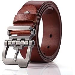 Teemzone diseño de hebilla rueda dentada con Cinturón Piel de Funda de Cuero Cinturón (marrón 110cm cintura 90-100cm)