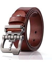 Teemzone Retro Cinturón de Hombre Piel Diseño Hebilla de Perno de Rueda  Dentada e03604a0411b