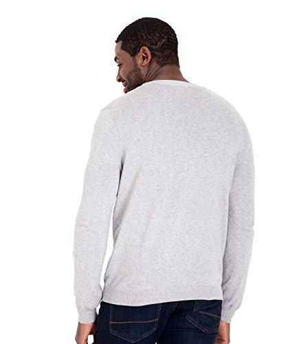 Wool Overs Gilet col V classique Homme en cachemire et coton Grey Marl