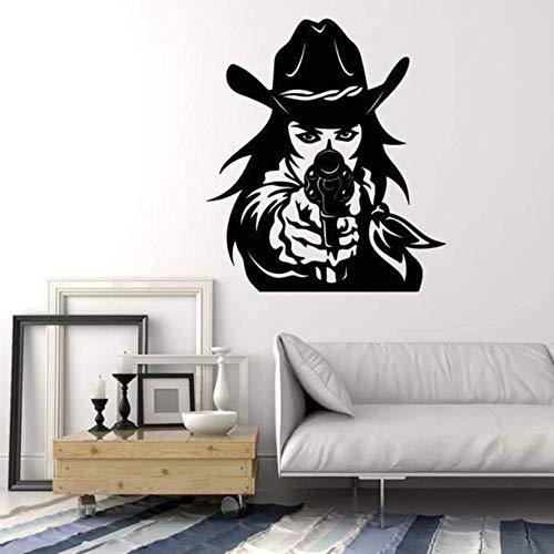 Western Cowboy Hut Revolver Gun Cowgirl Vinyl Wandtattoo Wohnkultur Wohnzimmer Kunst Wandaufkleber Abnehmbare 57X65 Cm