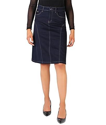 9291-NVY-16: KRISP Damen Midi Jeans Bleistiftrock Knielang (Marineblau, Gr. 44)
