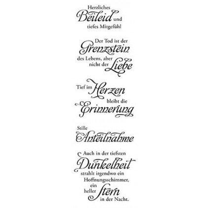 Clear Stamp-Set Stempel-Gummi Beileid - Karten-Kunst Weise Worte