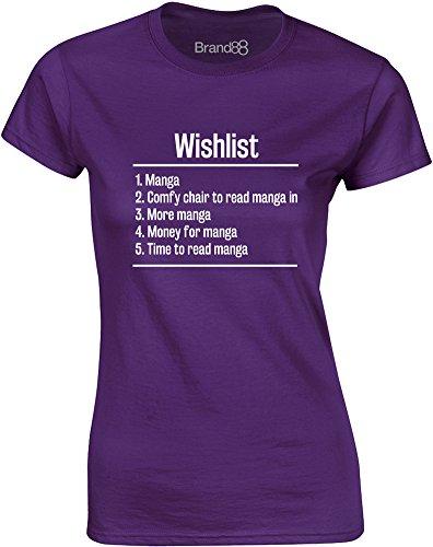 Brand88 - Wishlist: Manga, Gedruckt Frauen T-Shirt Lila/Weiß