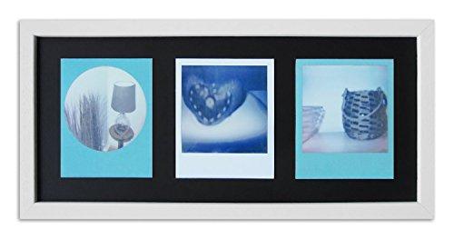 WandStyle Rahmen für Polaroid-Bilder Serie A850 weiß gemasert Normalglas inkl. Passepartout schwarz für 3 Polaroids