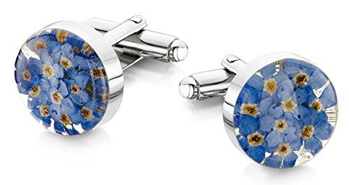 Shrieking Violet: Manschettenknöpfe - blaue Vergissmeinnicht - rund - 925 Sterling Silber