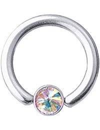 Bauchnabel-Piercing Titan SWAROVSKI ELEMENTS Kristalle Aurora Borealis6-16 mm