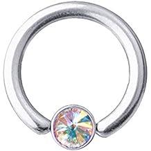 Lippenbändchen-Piercing Titan 1,2 mm SWAROVSKI ELEMENTS Kristall Aurora Borealis | 6-10 mm
