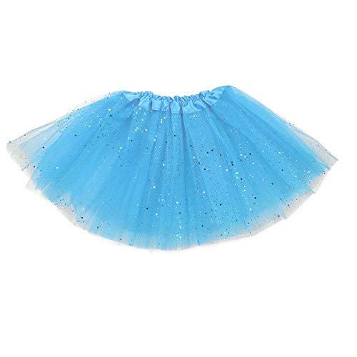 IDEGOS MAXCS Damenrock Mädchen Ballett Glitzer Tutu Tüllrock Partyrock 3-lagig. himmelblau. 25cm (Einfach Tierische Kostüm)