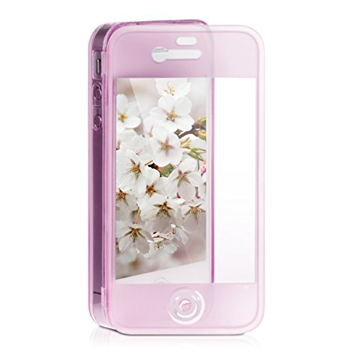 kwmobile TPU Silikon Hülle für Apple iPhone 4/4S - Full Body Protector Cover Komplett Schutzhülle Case klar in Pink (Pink Case 4 Iphone)
