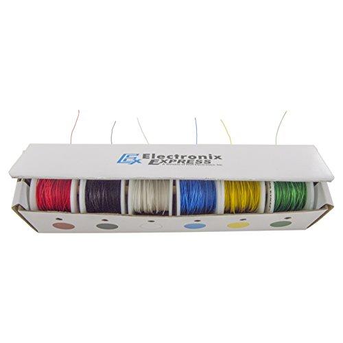 Electronix Express 27wk30wwr100Solid 30Gauge Wire Wrap, KYNAR Isolierte Draht Kit mit 6-100'Spulen - Wire Gauge