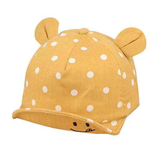 Garciadia Schöne Dot Muster Kinder Baseball Cap Unisex Einstellbar Lächeln Bestickt Outdoor Schirmmütze Waschbar Ohrschmuck Sonnenhut (Farbe: gelb)
