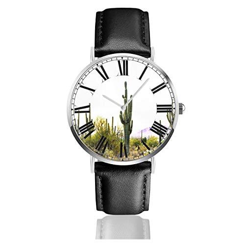 Pecostar cactus nel deserto, orologio da polso da uomo/donna, con cinturino in pelle, analogico, al quarzo, impermeabile, casual, con cinturino in pelle