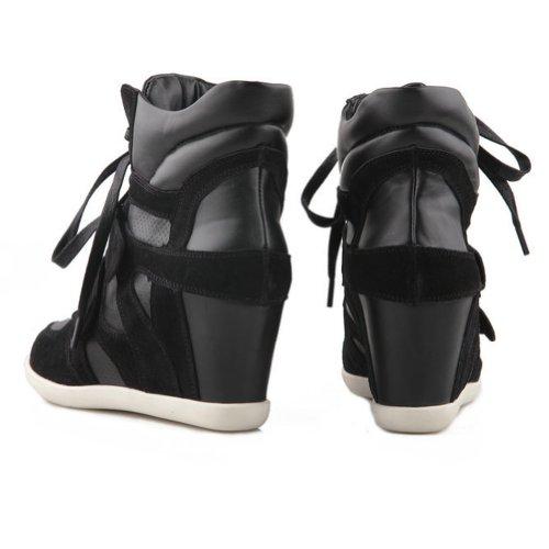 Leder Fashion Beiläufig Hook Keil Versteckte Sneaker Heel Schwarz Damen Schleife 6wFfSF