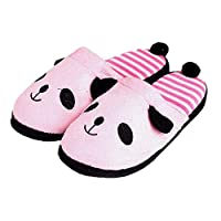 ZHRUI Panda Slippers Women Stripe Cute Indoor Plush Shoes (Color : Pink, Size : UK4.5/5.5)