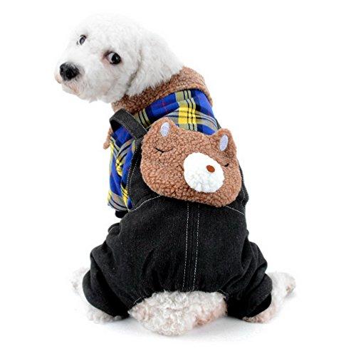 SELMAI kleine Hund Overall Overall Denim Fleece gefüttert Plaid Bär Welpen Wintermantel Schneeanzug Pyjamas Super Warm Haustier Katze Chihuahua Kleidung kalt Wetter Mäntel grau M (Fleece-plaid-mantel)