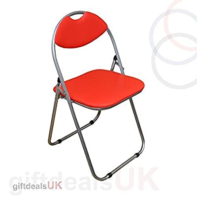 RED Faux Padded, Folding, Office Desk Chair Seat Comfortable Foldable Easy Carry & Storage - inexpensive UK light shop.