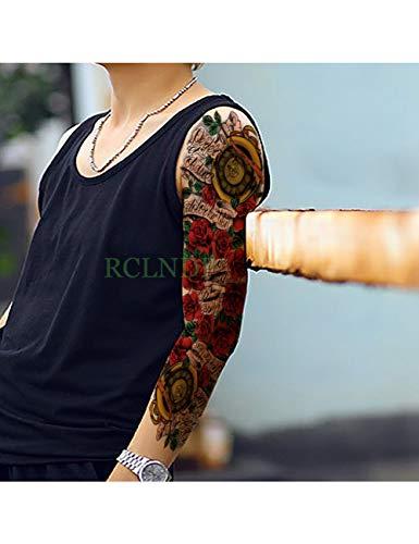 Astty adesivo tatuaggio impermeabile autoadesivo del tatuaggio temporaneo carpa pesce fiore braccio pieno falso tatto flash manica tatoo di grandi dimensioni per le donne degli uomini, trasparente