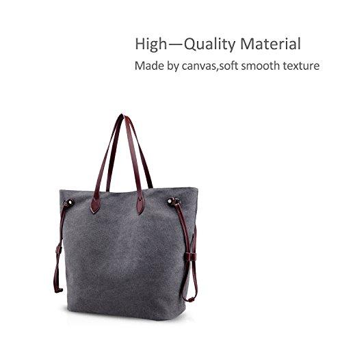 NICOLE&DORIS Vintage Frauen Tote Handtaschen Umhängetasche Crossbody Tasche Einkaufstasche Large Capacity Canvas Leder Grau Grau