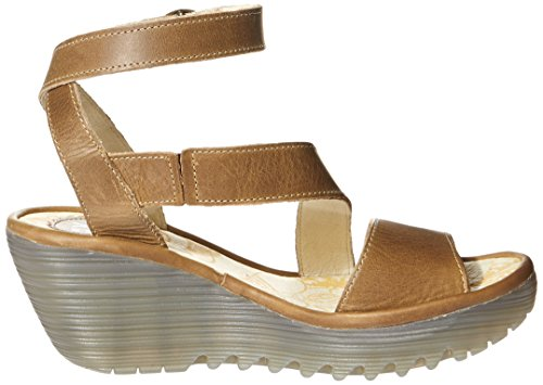 FLY London YESK, Sandales Compensées femme Marron (Camel 001)