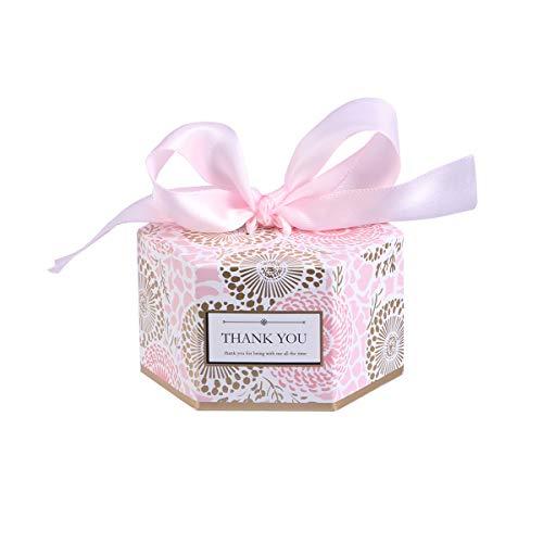 Amosfun 20 stücke Hochzeit süßigkeitskästen hexagonal BonBon Box geschenkboxen Gastgeschenk Kartonage für Hochzeit BabypartyTaufe(Rosa Klein