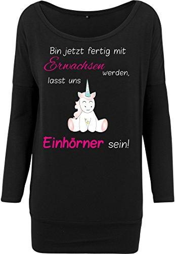 Ladies Viscose Longsleeve Viskose Shirt Langarmshirt Damen Unicorn Einhorn Cutie Bin Jetzt Fertig mit Erwachsen Werden (S) (Erwachsene Tee T-shirt Silber)