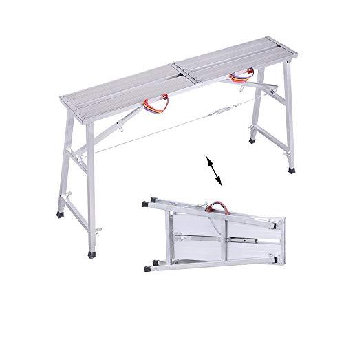 XSJZ Taburete Multifuncional, Aleación de Aluminio Andamio Portátil de Elevación Plegable Multifuncional para La Plataforma de Escalera Ascendente de La Masilla Que Raspa Interior Banco Escalera plega