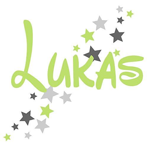 Türaufkleber mit Namen 73064-29cm-tricolore-Pastellgrün-dunkelgrau-grau, mit Sternen, fürs Spielzimmer Jungenzimmer, Kinderzimmer Jungen, Wandtattoo Wunschname