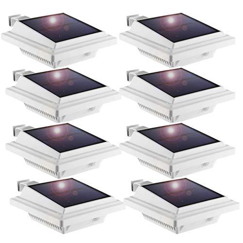 LED Solar Dachrinnenleuchte,KEENZO Solarlampen für Außen, 25LEDs Solarlicht, Auto ON/OFF, Weiß, Kaltesweiß Licht (8 Stück)
