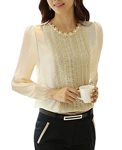 Minetome Damen bluse Spitzenbluse Langarmshirts Perlen Stehkragen Tops Tuniken Oberteil Slim Fit Tuniken ( Beige EU XL ) (Langarm Seiden-chiffon-bluse)
