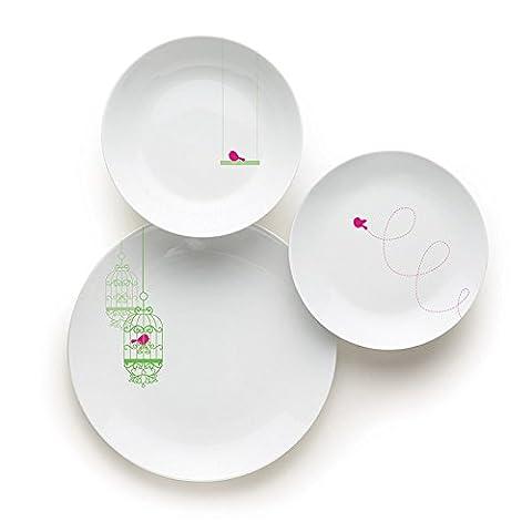 Service Vaisselle 18 Pieces - Excelsa liberté Service de table, porcelaine, blanc,