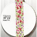 Biais en coton à fleurs 5 m Ivoire/rose/lilas 25mm Utile dans de nombreux projets de couture, décoration et travaux manuels