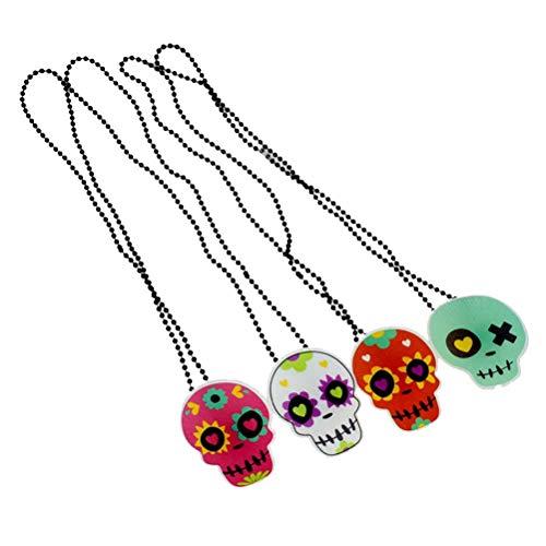 Amosfun Halloween Halskette Schädel Halskette Halloween LED leuchtende Schädel Kopf Anhänger Halloween Kostüm Party Cosplay Dress Up leuchtende Schmuck Zubehör zufälliges Muster