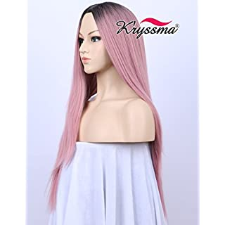 Kryssma Beauty New Series for Party- Dark Rooted Ombre Classic Pink Straight Wig for Ladies High Quality Synthetic Hair Wigs with Middle Parting 22 inches