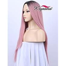 kryssma belleza nueva serie para Party- oscuro arraigado Ombre Classic rosa recta peluca para mujer peluca de pelo sintético de alta calidad con centro parting 22pulgadas