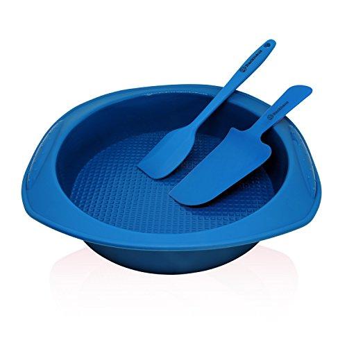 BACKHAUS FlexBake Molde redondo de Silicona Premium Antiadherente y Espátula + Cuchillo de Pastel Gratis | Juego de Repostería 100% libres de BPA | 5 años de Garantia | Ø: 23cm - Azul