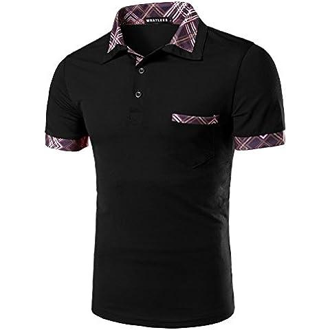 Whatlees Unisex Hip Hop T-shirts Polo con righe a contrasto sul colletto