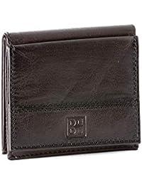 19ed8b9382 Portafoglio uomo in pelle con portamonete esterno e porta carte di credito DUDU  Marrone scuro