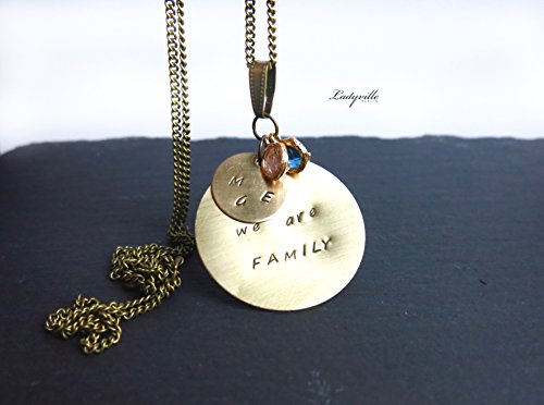 Familie Personalisierte Schmuck (Personalisiert We are Family mit Initialen bronze)