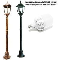 Farola de jardín H 180cm lámpara Turbo LED E2730W Farol Mod Newyork IP65–Luz Blanco Natural acabado aluminio negro