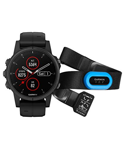 Garmin GPS Fenix 5 S Plus NEG.42MM C/TRA Mano Ciclismo Unisex Adulto