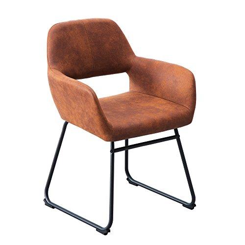 Riess Ambiente Design Stuhl Mustang antik braun Microfaser mit Armlehne Esszimmerstuhl...