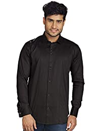 c4156db0e60 R.J. Fusion   Threads Black Cotton and Satin Blend Striped Full Sleeves  Dress Formal Shirt