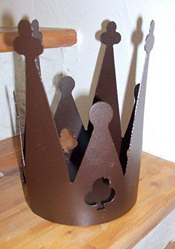 Métal vernis couronne marron 13 cm x 20 cm, avec socle