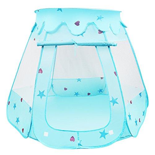BelleStyle Kinder Spielzelt Bällebad Pop Up Spielhaus Prinzessin Haus für im Innen- und Außenbereich (Blau)