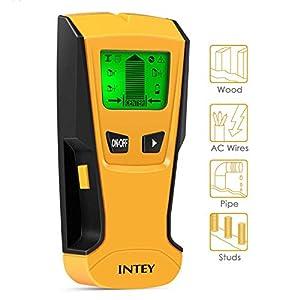 INTEY – Detector De Pared 3 EN 1 Pantalla LCD Detector De Pared para Detecta AC Cable ,Metal Tuberías,Madera En La Pared DCemento,Azulejos